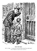 """The New Boy. """"Mr R. A.Butler: """"It may not be very easy at first, but you'll soon settle down."""" [The new Education Act came into force on April 1st.]"""