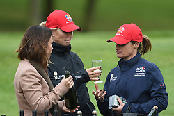 Zara Tindall (centre) and Dolly Maude (right) during the ISPS Handa Celebrity Golf Classic at The Belfry in Sutton Coldfield.