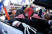 Anti Brexit pro Europe demonstrator dressed as the devil at the protest in Westminster opposite Parliament as MPs debate and vote on amendments to the withdrawal agreement plans on 14th February 2019 in London, England, United Kingdom.