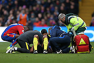Vincent Kompany of Manchester City lies on the pitch attended to by the Medical Team after colliding into Claudio Bravo of Manchester City. Premier League match, Crystal Palace v Manchester city at Selhurst Park in London on Saturday 19th November 2016. pic by John Patrick Fletcher, Andrew Orchard sports photography.
