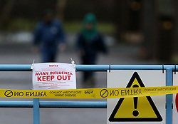 File photo dated 12/01/16 of a sign warning of an avian influenza outbreak, as restrictions have been put in place around a Lancashire farm after bird flu was detected.
