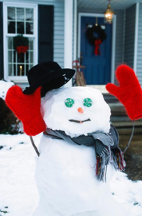 Alaska Wintertime scenics and holiday spirit. Snowman.
