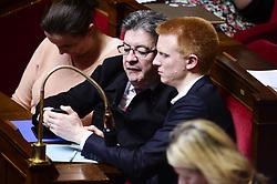 April 18, 2018 - Paris, France, France - Jean Luc Melenchon.Adrien Quatennens (Credit Image: © Panoramic via ZUMA Press)