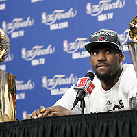 21 June 2012: Miami Heat small forward LeBron James (6) answers journalists during a press conference following the Miami Heat 121-106 victory over the Oklahoma City Thunder, in Game 5 of the 2012 NBA Finals, at the AmericanAirlinesArena, Miami, Florida, USA. The Miami Heat wins the series 4-1.