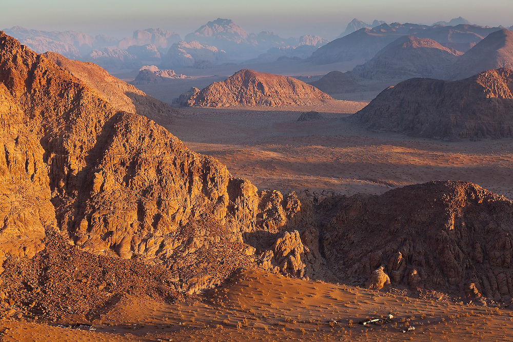 A Bedouin encampment tucked away in a remote desert valley of Wadi Rum, Jordan.