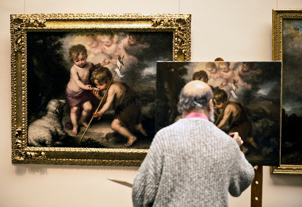 An artist copies from one of the old masters, Prado museum, Madrid, Spain