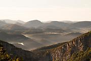 High angle view on mist covered hills in Gorges du Verdon, Natural Regional Park, France.