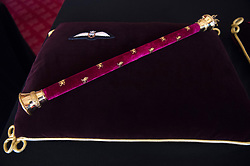 RAF Wings and Field Marshal's Baton, fited to him by the Queen in 1953, sewn onto a cushion in St James's Palace, London. The cushions displaying medals and decorations conferred on the Duke of Edinburgh by the United Kingdom and other countries across the world, together with his Field Marshal's baton and Royal Air Force Wings, and insignia from Denmark and Greece, will be placed on the altar in St George's Chapel, in Windsor, ahead of his funeral on Saturday. Picture date: Tuesday April 13, 2021.