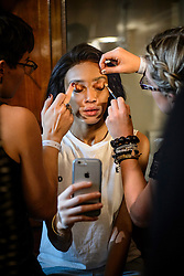 Model Winnie Harlow prepares backstage before the Julien Macdonald Autumn/Winter 2017 London Fashion Week show at Goldsmith's Hall, London.PRESS ASSOCIATION Photo. Picture date: Saturday February 18th, 2017. Photo credit should read: Matt Crossick/PA Wire.