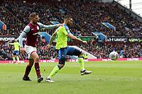 Aston Villa v Derby County - Sky Bet Championship<br /> BIRMINGHAM, ENGLAND - APRIL 28 :  bradley Johnson, of Derby County, is closed down by, Aston Villa's Conor Hourihane