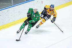 Stebih Mih of HK SZ Olimpija vs Olivero Simone of Asiago during first leg Ice Hockey game between HK SZ Olimpija Ljubljana and Asiago Hockey in Final of Alps Hockey League 2020/21, on April 20, 2021 in Hala Tivoli, Ljubljana, Slovenia. Photo by Vid Ponikvar / Sportida