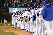 CHICAGO, IL - OCTOBER 15:  Manager Joe Maddon #70 of the Chicago Cubs greets his players during pre game introductions prior to Game 1 of NLCS against the Los Angeles Dodgers at Wrigley Field on Saturday, October 15, 2016 in Chicago, Illinois. (Photo by Ron Vesely/MLB Photos via Getty Images) *** Local Caption *** Joe Maddon