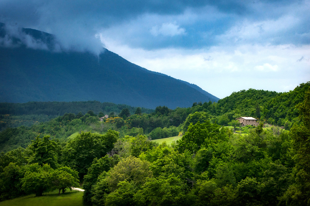 Farmhouse on a mountain, Mt. Subasio, Assisi, Italy