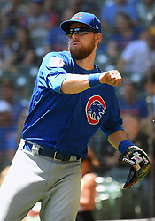 June 13, 2018 - Milwaukee, WI, U.S. - MILWAUKEE, WI - JUNE 13: Chicago Cubs Infield Ben Zobrist (18) makes a throw during a MLB game between the Milwaukee Brewers and Chicago Cubs on June 13, 2018 at Miller Park in Milwaukee, WI. The Brewers defeated the Cubs 1-0.(Photo by Nick Wosika/Icon Sportswire) (Credit Image: © Nick Wosika/Icon SMI via ZUMA Press)