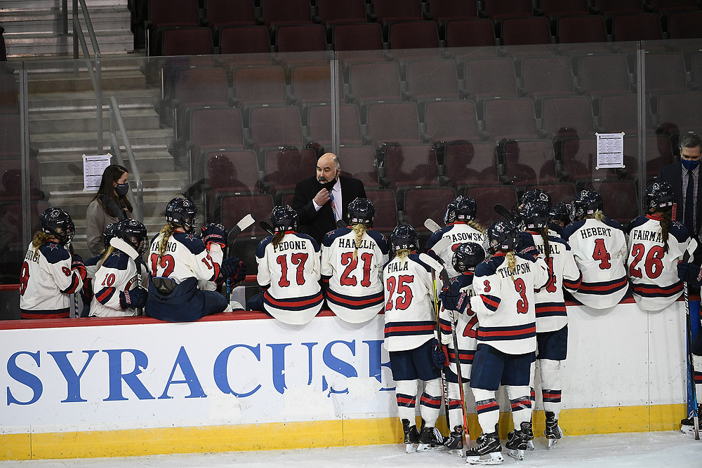 ERIE, PA - MARCH 06: Head Coach Paul Colontino of the Robert Morris Colonials talks to his players after a timeout in the third period during the CHA Tournament Championship game against the Syracuse Orange at the Erie Insurance Arena on March 6, 2021 in Erie, Pennsylvania. (Photo by Justin Berl/Robert Morris Athletics)