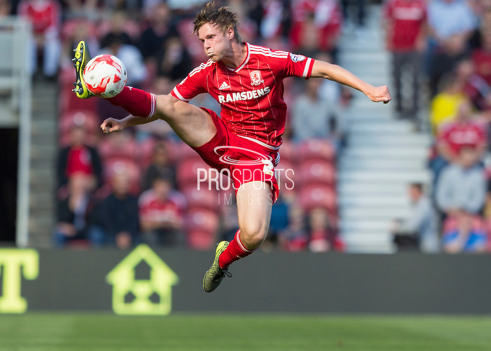 Middlesbrough FC defender Tomas Kalas collects a high ball to set up another attack during the Sky Bet Championship match between Middlesbrough and Leeds United at the Riverside Stadium, Middlesbrough, England on 27 September 2015. Photo by George Ledger.