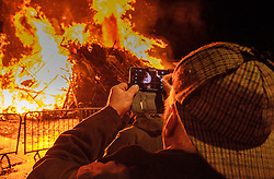 Biggar Scotland - 31st December 2016 <br /> The hogmanay bonfire in Biggar's High Street lit at 9.30pm to burn out the old and burn in the new year.. Probably the biggest hogmanay bonfire anywhere in Britain.<br /> <br /> (c) Andrew Wilson | Edinburgh Elite media