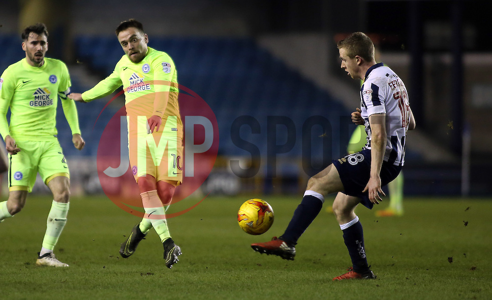 Paul Taylor of Peterborough United is blocked by Shane Ferguson of Millwall - Mandatory by-line: Joe Dent/JMP - 28/02/2017 - FOOTBALL - The Den - London, England - Millwall v Peterborough United - Sky Bet League One