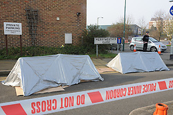 © Licensed to London News Pictures. 13/02/2013.Fatal shooting at Overy Street, Dartford,Kent .A 32 year old man has been fatally shot dead in Dartford in Kent last night (12/02/2013)..A police cordon in Merryweather Close,Dartford this morning..The victim has been named locally as Kevin  Mckinley from Stone police have arrested a man and woman..Photo credit : Grant Falvey/LNP