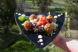 WY: Wyoming, Yellowstone National Park..Lake Yellowstone Hotel, food, smoked salmon with grilled corncakes.Photo #: yellow870..Photo copyright Lee Foster, 510/549-2202, lee@fostertravel.com, www.fostertravel.com..