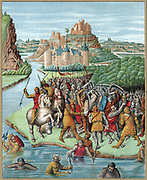15th century French representation of battle between Bacchides, general of Demetrius I Soter (c187-150 BC) Seleucid King of Syria, and Jonathan during 160 BC campaign crushing Jewish rebellion (Maccabean Revolt). Soldiers in 15th century armour and mail fighting with swords, battleaxes and spears with infantry armed with pikes in background. Chromolithograph