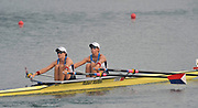 Shunyi, CHINA.  Start of a heat of a heat of the women's Double Scull, USA W2X Bow, Megan KALMOE and Ellen TOMEK, at the 2008 Olympic Regatta,  Saturday, 09.08.2008  [Mandatory Credit: Peter SPURRIER, Intersport Images]