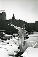 1987 Tour Guide on a double decker bus in Hollywood