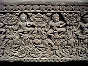 Strip from the foundations. Style: Post-Bayon (1250-1431) sandstone sculpture from Cambodia, Preah Pithu (temple)