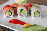 Assortment of Sushi Maki, with salmon, avocado and fish
