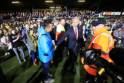 20 February 2017 - The FA Cup - (5th Round) - Sutton United v Arsenal - Paul Doswell manager of Sutton United greets Arsene Wenger manager of Arsenal - Photo: Marc Atkins / Offside.