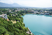 Lake Bled from Bled Castle is a medieval castle built on a precipice above the city of Bled in Slovenia, overlooking Lake Bled.