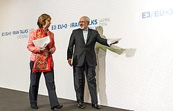 09.04.2014, Austria Center, Wien, AUT, E3/EU+3 - Iran Gespraeche (Frankreich, Deutschland, Vereinigtes Koenigreich, China, Russland und USA), im Bild v.l.n.r. Hohe Vertreterin der EU fuer Aussen- und Sicherheitspolitik Catherine Ashton und Aussenminister Iran Mohammed Dschawad Zarif // f.l.t.r. High Representative of the Union for Foreign Affairs and Security Policy Catherine Ashton and Foreign Minister of Iran Javad Zarif during P5+1 - Iran Talks (France, Germany, United Kingdom, China, Russia und USA) at Austria Center in Vienna, Austria on 2014/04/09, EXPA Pictures © 2014, PhotoCredit: EXPA/ Michael Gruber