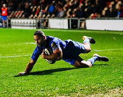 Dave Kearney of Leinster scores his sides first try<br /> <br /> Photographer Simon King/Replay Images<br /> <br /> Guinness PRO14 Round 10 - Dragons v Leinster - Saturday 1st December 2018 - Rodney Parade - Newport<br /> <br /> World Copyright © Replay Images . All rights reserved. info@replayimages.co.uk - http://replayimages.co.uk