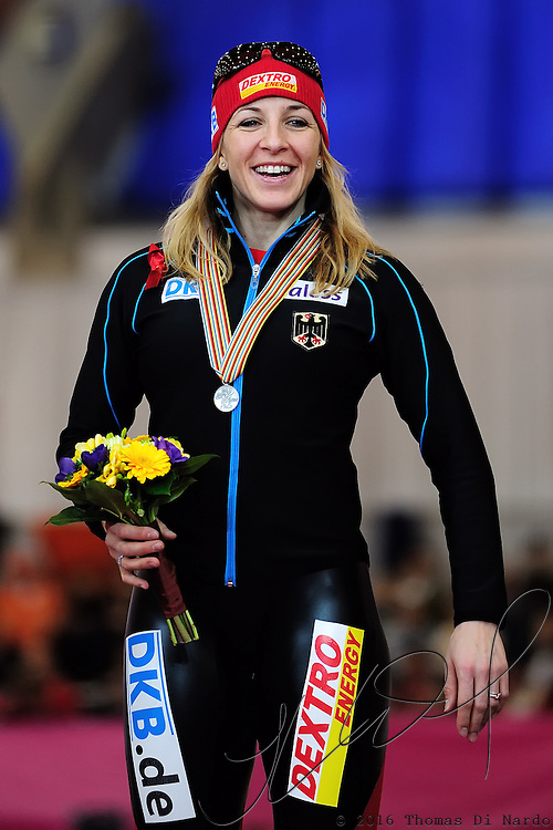 Anni Friesinger (GER) celebrates her silver medal performance in the ladies 1000m event at the 2009 Essent ISU World Single Distances Speed Skating Championships.
