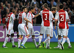 02.11.2011, Amsterdam ArenA, Amsterdam, NED, UEFA CL, Ajax vs Dinamo Zagreb, im Bild Gregory van der Wiel scores the 1-0 and celebrate with Miralem Sulejmani, Toby Alderweireld, Derk Boerrigter during UEFA Champions League match between AFC Ajax and Dinamo Zagreb at  statium Amsterdam ArenA in Amsterdam Netherlands on 02/11/2011..EXPA Pictures © 2011, PhotoCredit: EXPA/ nph/   Ronald Hoogendoorn .+++++ ATTENTION - OUT OF NETHERLANDS +++++       ****** out of GER / CRO  / BEL ******