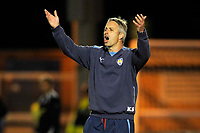 Kit Symons (Colchester caretaker manager) throws his arms in the air and shouts. Colchester United Vs Leicester City. Coca Cola League 1. Weston Homes Community Stadium. Colchester. 30/09/2008. Credit Colorsport/Garry Bowden