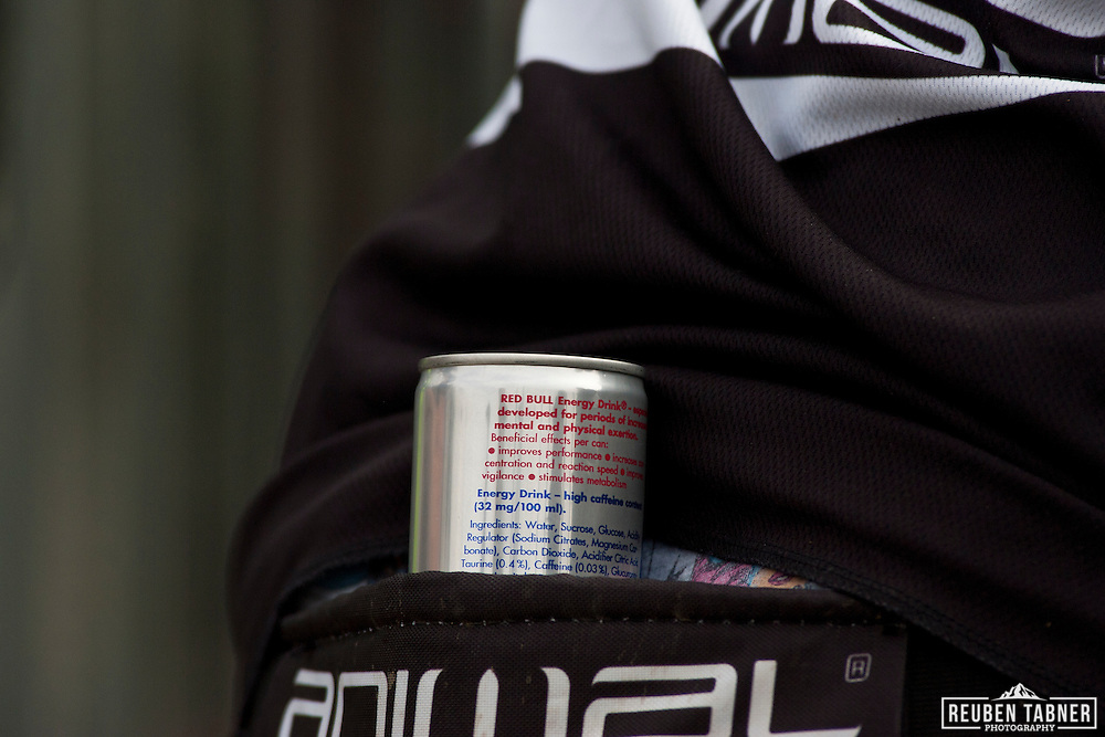A can of Red Bull sits in Rachel Atherton's pocket at the 2010 UCI Mountain Bike World Cup in Fort William, Scotland.