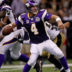 September 9, 2010; New Orleans, LA, USA;  Minnesota Vikings quarterback Brett Favre (4) during the NFL Kickoff season opener at the Louisiana Superdome. The New Orleans Saints defeated the Minnesota Vikings 14-9.  Mandatory Credit: Derick E. Hingle
