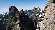 Brian Polagye climbs East Wilmans Spire, Mount Baker-Snoqualmie National Forest, Washington.