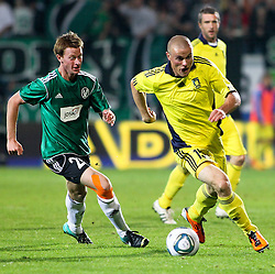 28.07.2011, Keine Sorgen Arena, Ried im Innkreis, AUT, UEFA EL Qualifikation, SV Josko Ried vs Brondby IF, im Bild Thomas Reifeltshammer, (SV Josko Ried, #28) und Mikkel Thygesen, (Brøndby IF, Midfield, #15) // during football match between SV Josko Ried (AUT) and Brondby IF (DEN) 1st Leg of Europa League third Qualifying Round, on July 28, 2011 at Keine Sorgen Arena Ried im Innkreis, Austria. EXPA Pictures © 2011, PhotoCredit: EXPA/ R. Hackl
