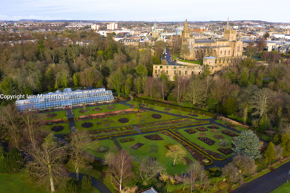 Aerial view of Dunfermlne Abbey and Palace from Pittencrieff Park,  Dunfermline, Fife, Scotland, UK