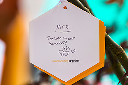 © Licensed to London News Pictures. 22/05/2018. Manchester UK. Picture shows a note left on a tree in St Ann's Square in Manchester this morning to mark the first anniversary of the Manchester Arena bombing. 22 people died when Salman Abedi detonated a bomb at an Ariana Grande concert. Photo credit: Andrew McCaren/LNP