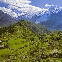 Verdant fields and subtropical forests surroundTsa Chu village & Mount Gyala Pelri (7150m), one of highest peaks in eastern Himalaya in southeastern Tibet, China.