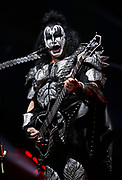Gene Simmons of the rock band KISS performs during their concert at Bridgestone Arena Tuesday, April 9, 2019, in Nashville, TN.