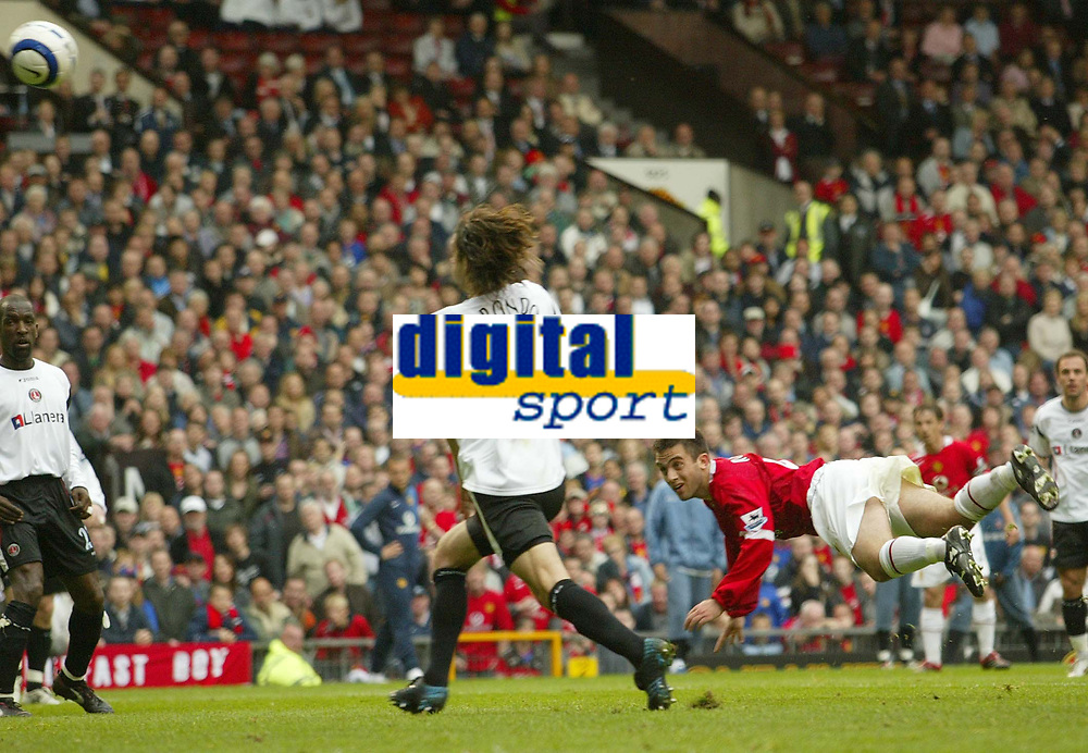 Photo: Aidan Ellis.<br /> Manchester United v Charlton Athletic. The Barclays Premiership. 07/05/2006.<br /> united's Guiseppe Rossi attempts a diving header that is well saved by Charlton's Stephan Anderson