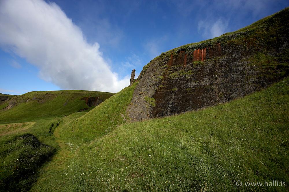 Rock at Systrastapi in Kirkjubaejarklaustur on the south coast of Iceland - Klettur við Systrastapa á Kirkjubæjarklaustri