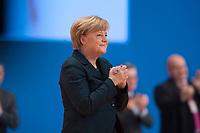 09 DEC 2014, KOELN/GERMANY:<br /> Angela Merkel, CDU, Bundeskanzlerin, nimmt den Applaus der Delegierten entgegen, nach ihre Rede als Parteivorsitzende der CDU, CDU Bundesparteitag, Messe Koeln<br /> IMAGE: 20141209-01-061<br /> KEYWORDS: Party Congress, applaudieren, klatschen