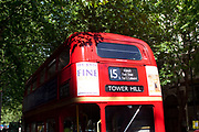 Red traditional Routemaster London Bus. Number 15. Still operational on some routes these old buses are an icon of London