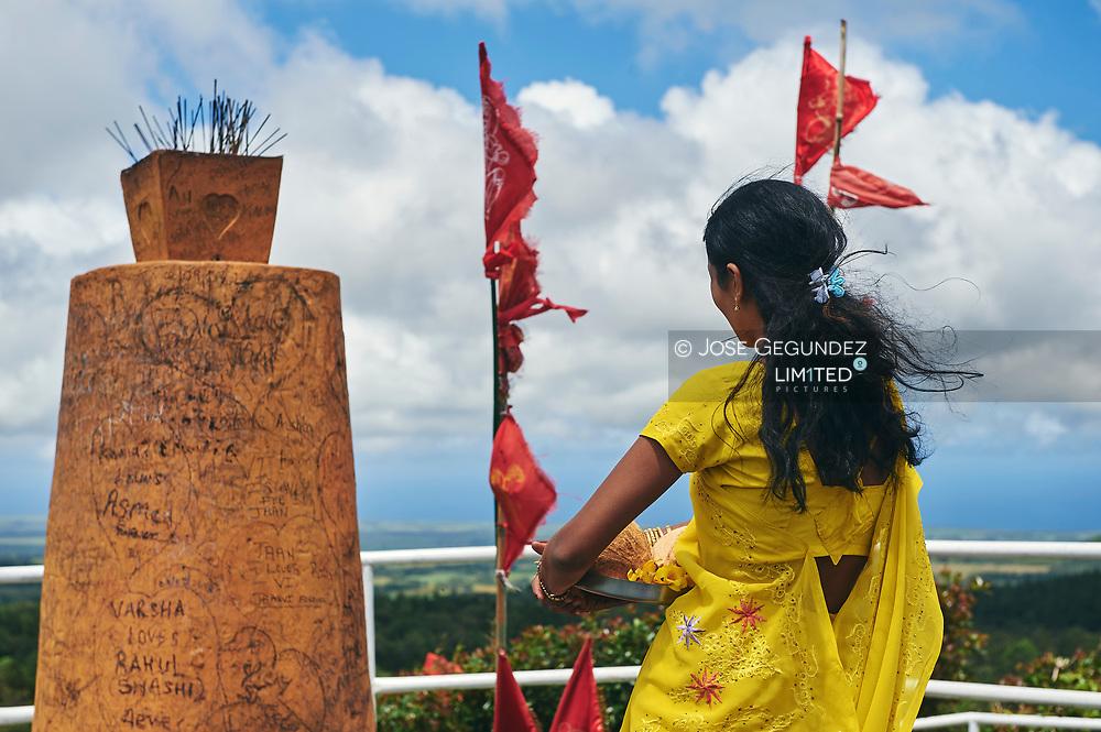 Mauritius Island. Grand Bassin. A Hindu woman praying
