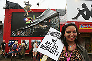 Memorial event for Jo Cox at the Park Stage at Glastonbury Festival on 23rd June 2016 in Glastonbury, United Kingdom. It was compared by Billy Bragg and after singing, people marched to Sisterhood in Shangri-la. The March was lead by Kaye Dunnings, creative director of Shangri-la and Alice Holland who runs Sisterhood, the first ever female only space at Glastonbury. Emily Elvis joined the march at Shangri-la.